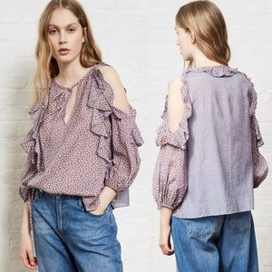French Connection Elao Cold Shoulder Ruffle Blouse